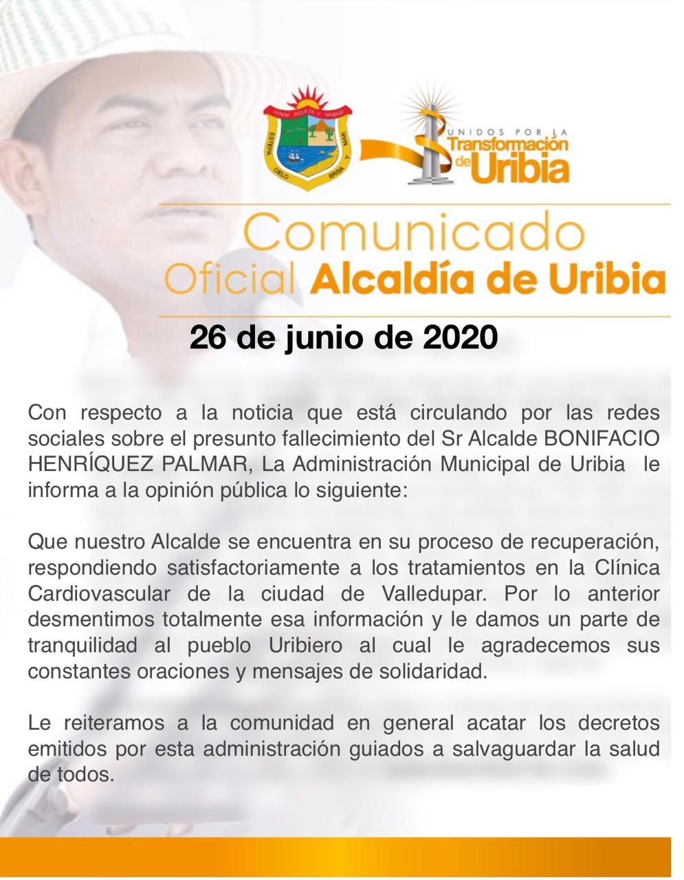Desmienten fallecimiento del alcalde de Uribia, Bonifacio Henríquez