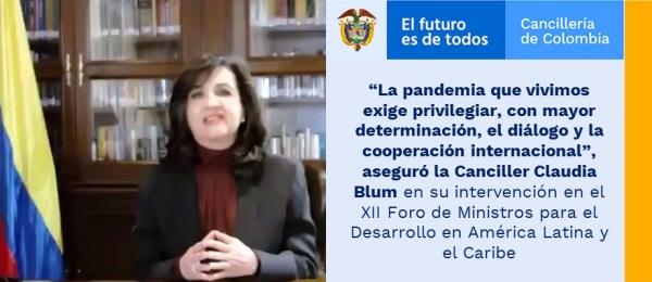 """""""La pandemia que vivimos exige privilegiar, con mayor determinación, el diálogo y la cooperación internacional"""", aseguró la Canciller Claudia Blum en su intervención en el XII Foro de Ministros para el Desarrollo en América Latina y el Caribe"""